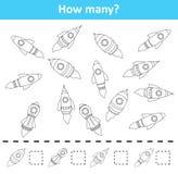Räkna som är modigt för förskole- barn Räkna how many flyger skeppobjekt royaltyfri illustrationer