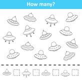 Räkna som är modigt för förskole- barn Räkna hur många rymdskeppobjekt vektor illustrationer