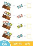 Räkna som är modigt för förskole- barn Subtraktionsarbetssedlar Hur mycket pengar i plånböcker stock illustrationer