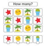 Räkna som är modigt för förskole- barn för utvecklingen av matematiska kapaciteter Räkna numret av objekt i bilden Wi Stock Illustrationer