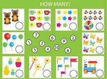 Räkna spelar bildande barn, matematikungeaktivitet Hur många objekt task Royaltyfria Foton