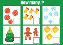 Räkna spelar bildande barn, ungeaktivitetsarbetssedeln vektor illustrationer