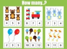 Räkna spelar bildande barn, ungeaktivitetsarbetssedeln Hur många objekt task Arkivbild