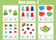 Räkna spelar bildande barn, ungeaktivitetsarbetssedeln Hur många objekt task royaltyfri illustrationer