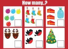 Räkna spelar bildande barn, ungeaktivitetsarbetssedeln Hur många objekt task, jul, tema för vinterferier Arkivfoton