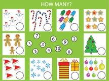 Räkna spelar bildande barn, ungeaktivitetsarbetssedeln Hur många objekt task, jultemat vektor illustrationer