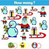Räkna spelar bildande barn, ungeaktivitetsarket Hur många objekt task Lära matematik, nummer också vektor för coreldrawillustrati stock illustrationer
