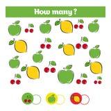 Räkna spelar bildande barn, ungeaktivitetsarket Hur många objekt task Lära matematik, nummer, tilläggstema stock illustrationer