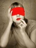 räknad ögonståendekvinna Arkivfoto