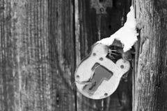 räknad retro snow för padlock Arkivbilder