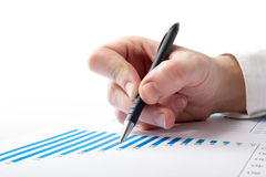 Räknande förluster för affärsman och vinst som arbetar med statistik, finansiell analysering resultaten på vit bakgrund Royaltyfria Bilder