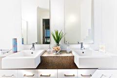 Räknareöverkant av en toalett inklusive vask och klapp Fotografering för Bildbyråer
