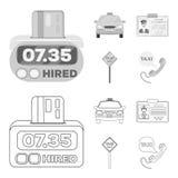 Räknaren av biljettprisen i taxien, taxibilen, chaufföremblemet, parkeringsplatsen av bilen Fastställd samling för taxi Royaltyfri Foto