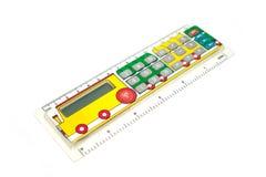 Räknemaskin för skolbarn I form av en linje med bilden av en paravoz Arkivbild