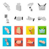 Räknemaskin, handskakning och annan rengöringsduksymbol i monokrom, lägenhetstil en bunt av mynt på gömma i handflatan, kreditkor Royaltyfria Bilder