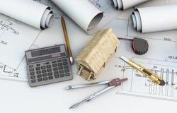 Räknemaskin, hjälpmedelformgivare och trähus på projekt royaltyfri illustrationer