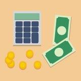 Räknemaskin och pengar Arkivbild