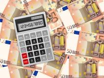 Räknemaskin på bakgrund för euro femtio Arkivbilder