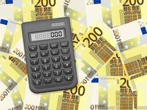 Räknemaskin på bakgrund för euro tvåhundra Royaltyfri Foto