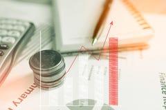 Räknemaskinen och myntet, pengar med affärsgrafer och diagram anmäler på tabble, räknemaskin på skrivbordet av finansiellt hyvla  arkivbilder