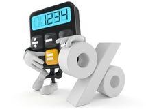 Räknemaskintecken med procentsymbol Arkivbild