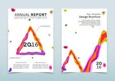 Räkning av den vita årsrapporten med den abstrakta vattenfärgtriangeln vektor illustrationer