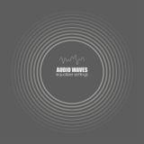Räkning för albumet eller musikspåret för illustrationljudet för bakgrund vågr den svarta vektorn white Ljudsignal teknologi, pul stock illustrationer