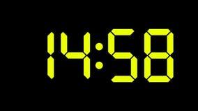 Räkning för Digital klocka från noll till sextio - full HD LEDD skärm - gräsplan-/gulingnummer arkivfilmer