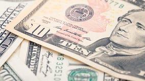 Räkning för dollar för pengar tjugo för Closeup amerikansk Alexander Hamilton stående, USA makro för 10 dollar sedelfragment Royaltyfria Bilder
