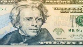 Räkning för dollar för pengar tjugo för Closeup amerikansk Andrew Jackson stående, USA makro för 20 dollar sedelfragment Royaltyfri Bild