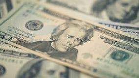 Räkning för dollar för pengar tjugo för Closeup amerikansk Andrew Jackson stående, USA makro för 20 dollar sedelfragment Royaltyfria Foton