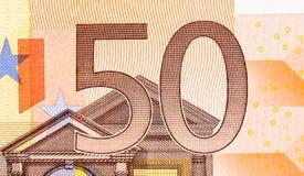 räkning för euro 50 på makro Arkivbild