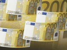 Räkning för euro tvåhundra på vit Arkivfoto