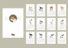 Räkning för hundsamlingskalender 2018 med chihuahuaen stock illustrationer