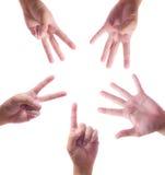 räkning fem hand en till Fotografering för Bildbyråer