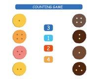 Räkning och match - arbetssedel för ungar Bildande och matematisk lek för dagis och förträning stock illustrationer