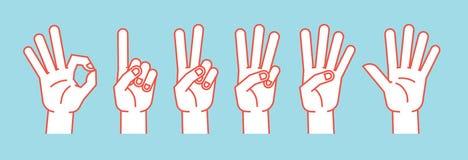 Räkning på fingrar gest Stiliserade händer som visar olika nummer symboler vektor stock illustrationer