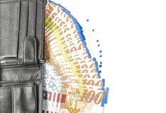 Räkningar av hundra siklar i plånboken Arkivfoto
