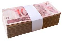 Räkningar 10 Reais - brasilianska pengar Royaltyfria Foton