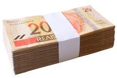 Räkningar 20 Reais - brasilianska pengar Arkivbilder