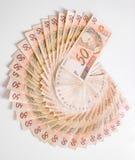 Räkningar - 50 Reais, brasilianska pengar Arkivbild