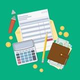 Räkningbetalning eller en skattfaktura Öppet kuvert med en kontroll, räknemaskin, handväska med pengar, blyertspenna, markör, gul stock illustrationer