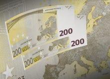 Räkningcollage för euro tvåhundra i varm signal Arkivfoto