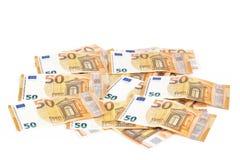 Räkningpapper backroung för 50 eurosedlar Arkivfoto