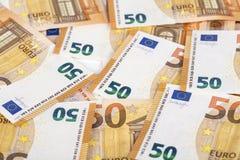 Räkningpapper backroung för 50 eurosedlar Arkivfoton