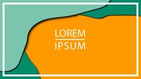 Räknings- eller reklambladmallen med abstrakt papper 3d klippte grön orange bakgrund Kontrastf?rger vektor illustrationer