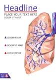 Räkningsmall för böcker Mänsklig realistisk lunga och luftstrupe i lo vektor illustrationer