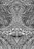 Räkningsprydnadmodell som spelar kort eller boken Dragen illustration för tappning blom- hand i linjen konststil stock illustrationer