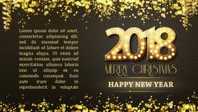 Räkningssymbolet för nytt år 2018 med ljusa kulor stock illustrationer