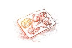 Räkor pläterar bästa sikt, läckert mål, rå räkor med citronstycket och lökcirklar, gourmet- matställe vektor illustrationer